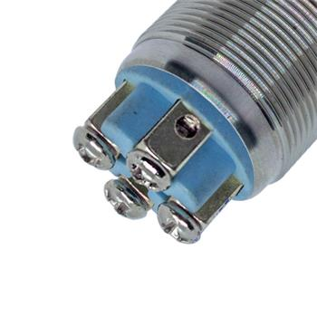 Edelstahl Drucktaster Flach Ø19mm Power LED IP65 Schraubanschluss 250V 3A Vandalismussicher