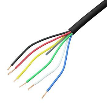 1m RGBW CCT LED Steuerleitung 6x 0,34mm² LiYY Verlängerung 6 adrig Stromkabel Schwarz UV beständig