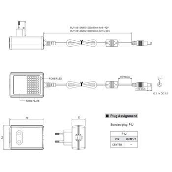 Steckernetzteil 18W 12V 1,5A ; MeanWell GS18E12-P1J ; EU-Plug 5,5/2,1mm