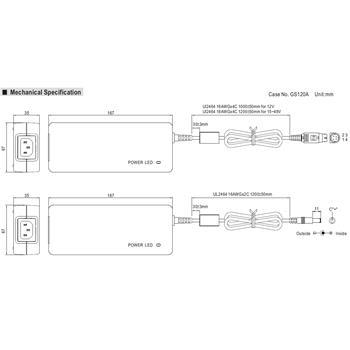 Tischnetzteil 120W 24V 5A ; MeanWell GST120A24-P1M ; Trafo Treiber ; 5,5/2,5mm