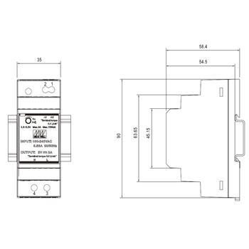 Hutschienen Netzteil 15W 5V 3A ; MeanWell HDR-30-5 ; DIN-Rail Trafo