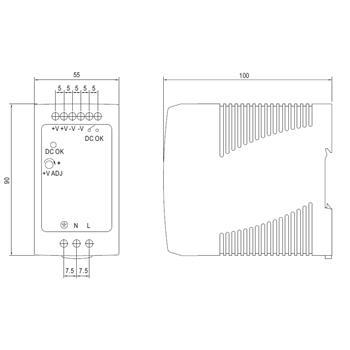 Hutschienen Netzteil 90W 12V 7,5A ; MeanWell, MDR-100-12 ; Hutschienennetzteil