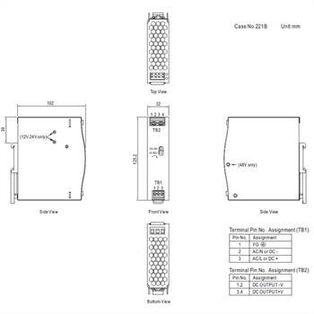 Hutschienen Netzteil 75W 12V 6,3A ; MeanWell NDR-75-12 ; DIN-Rail Trafo