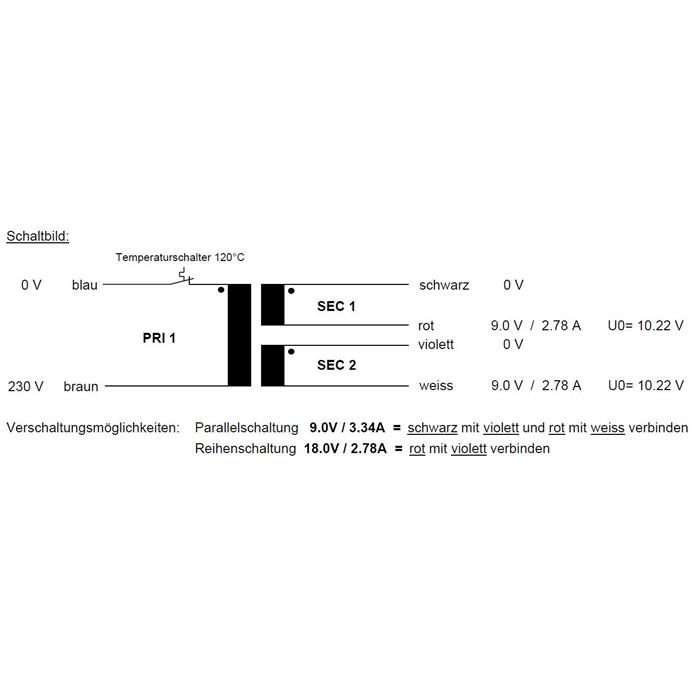 Ringkerntrafo 50VA 230V -> 2x9V / 1x18V ; Sedlbauer, RSO-825013