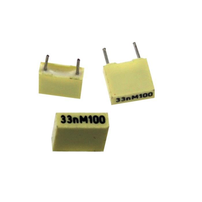 MKT-Kondensator radial 33nF 100V DC ; RM5 ; R82EC2330JB50M ; 33000pF