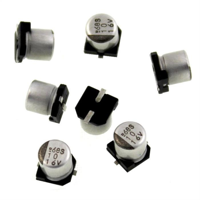 SMD Elko Kondensator 10µF 16V 85°C EMVS160ADA100MD46G d4x4,5mm 10uF