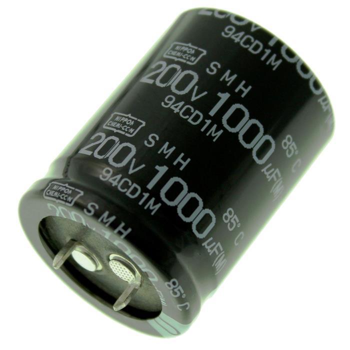 Snap-In Elko Kondensator Radial 1000µF 200V 85°C ESMH201VSN102MR40S d30x40mm 1000uF