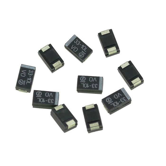 Tantal Kondensator SMD D 33µF 10V 125°C 7,3x4,3mm Vishay 293D336X9010D2TE3 33uF