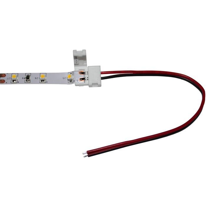 15cm LED Clip Verbinder mit Kabel für 8mm LED Streifen 13x5mm für einfarbige LED Streifen 2-Pin