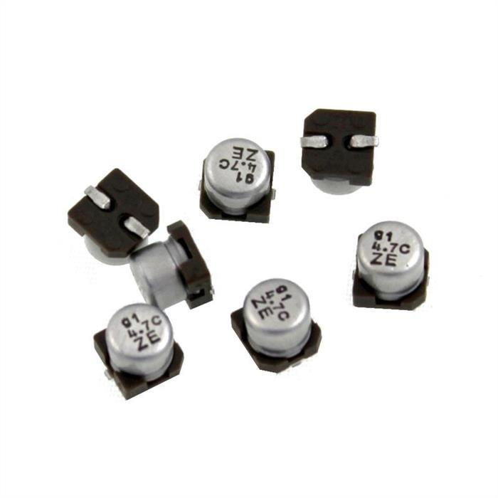SMD Elko Kondensator 4,7µF 16V 85°C UZE1C4R7MCR1GB d4,3x4,3mm 4,7uF