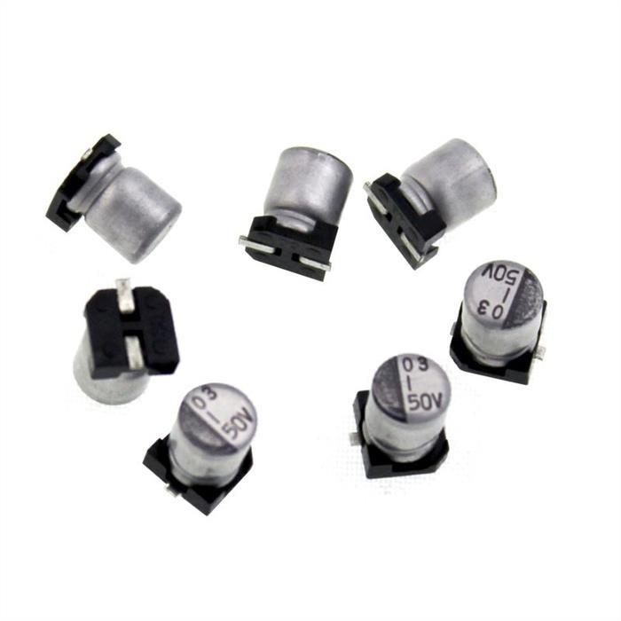 SMD Elko Kondensator 1µF 50V 105°C 7RTSC1HRB105MVR04005 d4x5,4mm 1uF