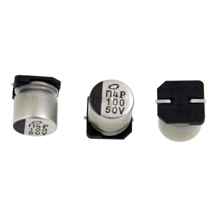 SMD Elko Kondensator 100µF 50V 105°C UUX1H101MNQ1GS d10x10mm 100uF