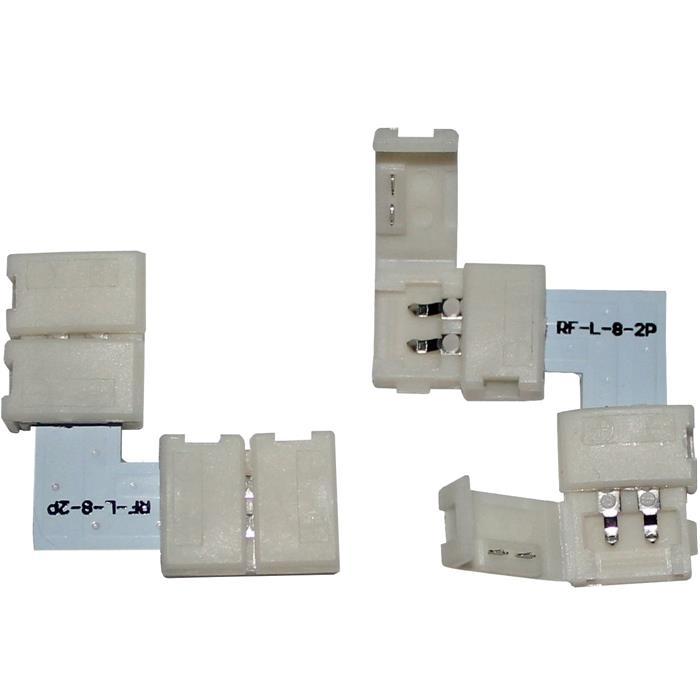 Verbinder / Connector für LED-Streifen 8mm ; L - Verbinder ; 90°