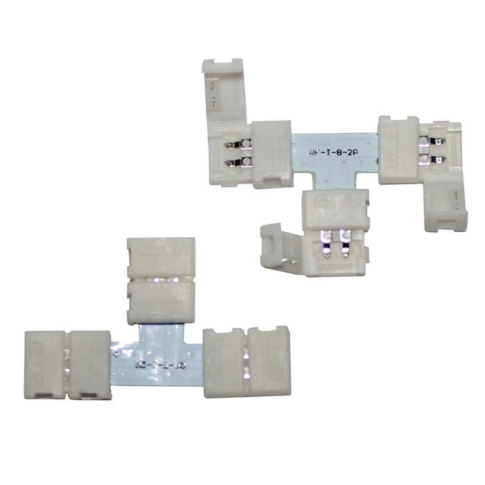 """LED Clip """"T"""" Verbinder für 8mm LED Streifen 13x5mm"""