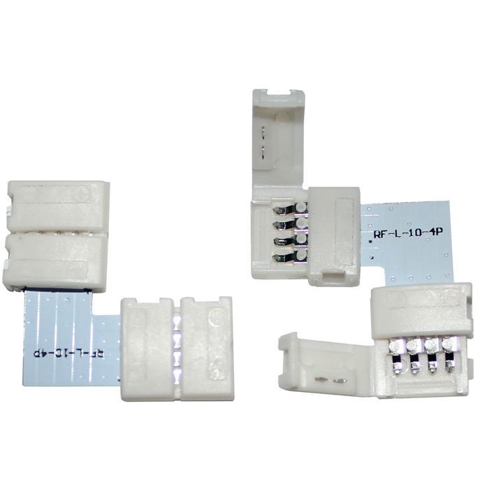 Connector für RGB LED-Streifen 10mm ; L - Verbinder ; 90° Eckverbinder