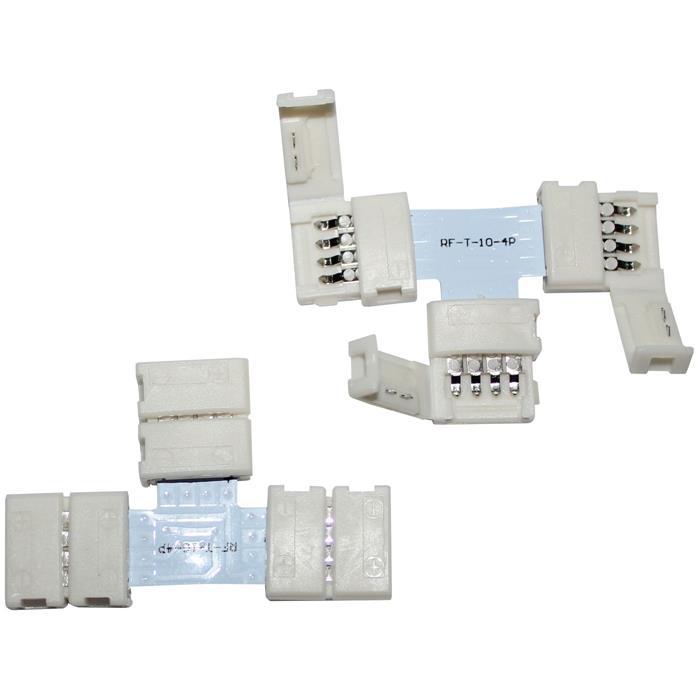 Verbinder / Connector für RGB LED-Streifen 10mm ; T - Profil ; T - Verbinder