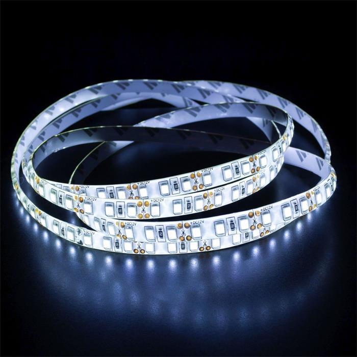 5m (500cm) LED Streifen Band Leiste 12V Kalt-Weiß 6000K IP65 600LEDs 120LED/m SMD3528