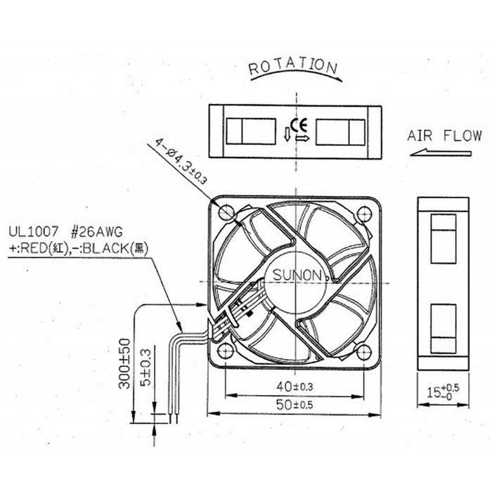 Lüfter 24V 1,91W 50x50x15mm 27,3m³/h 36dBA ; Sunon ME50152V2-A99