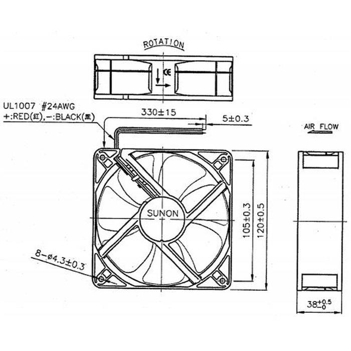 Lüfter 12V DC 10,1W 120x120x38mm 234,4m³/h 3100U/Min 234,4m³/h Sunon MEC0381V1-A99