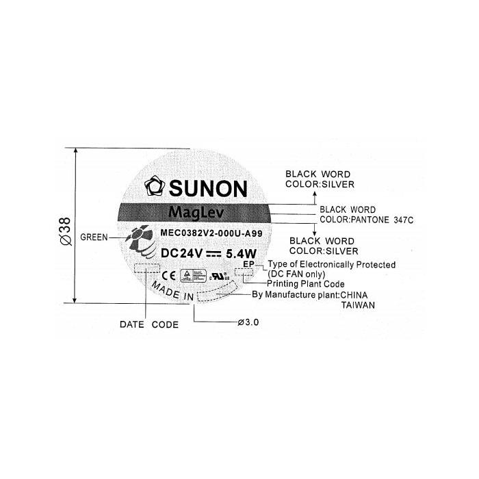 Lüfter 24V DC 5,5W 120x120x38mm 197m³/h 2600U/Min 197m³/h Sunon MEC0382V2-A99