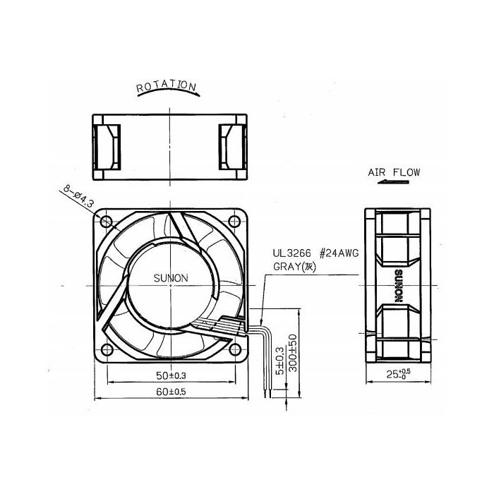 Lüfter 230V AC 4,1W 60x60x25mm 29,7m³/h 4100U/Min 29,7m³/h Sunon MA2062HVL
