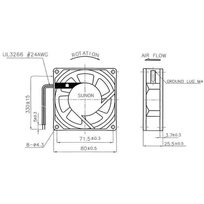 Lüfter 230V AC 14W 80x80x25mm 29m³/h 2300U/Min 29m³/h Sunon SF23080AT2082HSL