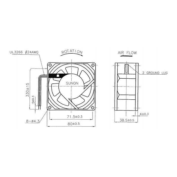 Lüfter 230V AC 18W 80x80x38mm 39m³/h 2300U/Min 39m³/h Sunon SF23080A2083HSL