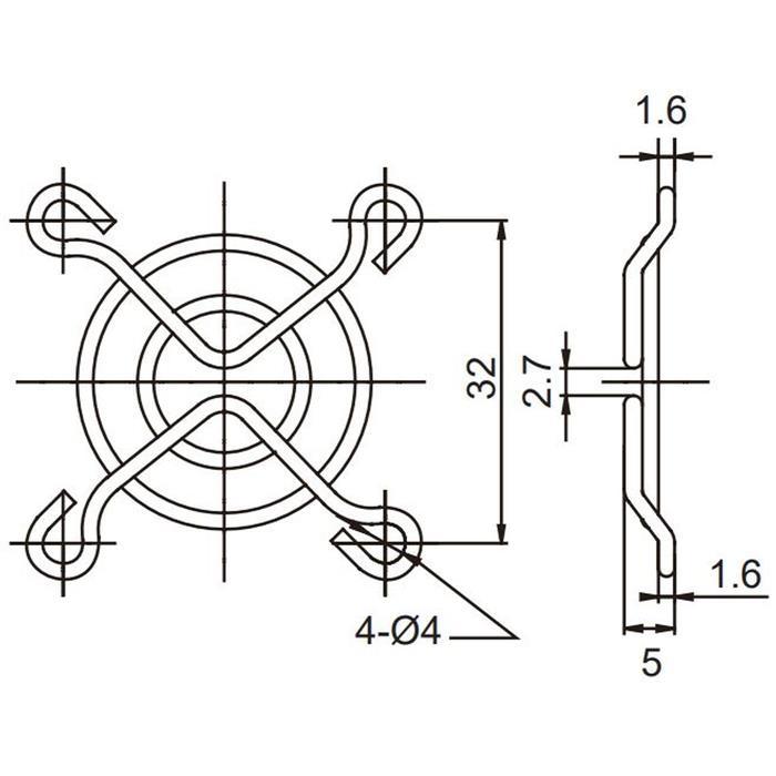 Lüftergitter 40x40mm für Axiallüfter 40x40x6mm 40x40x10mm 40x40x20mm