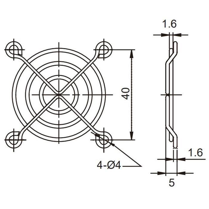 Lüftergitter 50x50mm für Axiallüfter 50x50x10mm 50x50x15mm