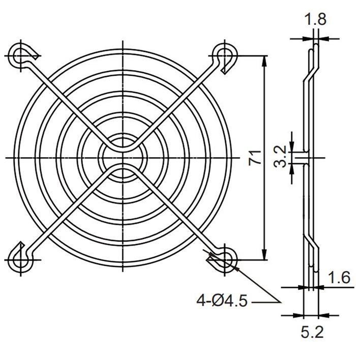 Lüftergitter 80x80mm für Axiallüfter 80x80x15mm 80x80x20mm 80x80x25mm