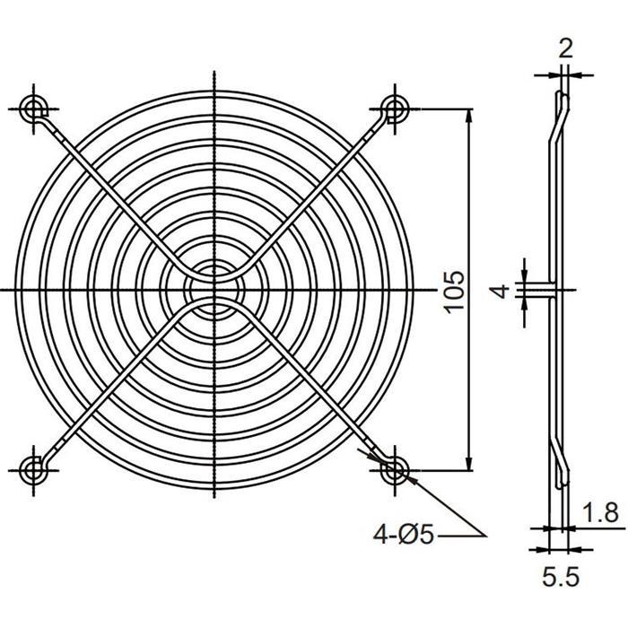 Lüftergitter 120x120mm für Axiallüfter 120x120x25mm 120x120x38mm