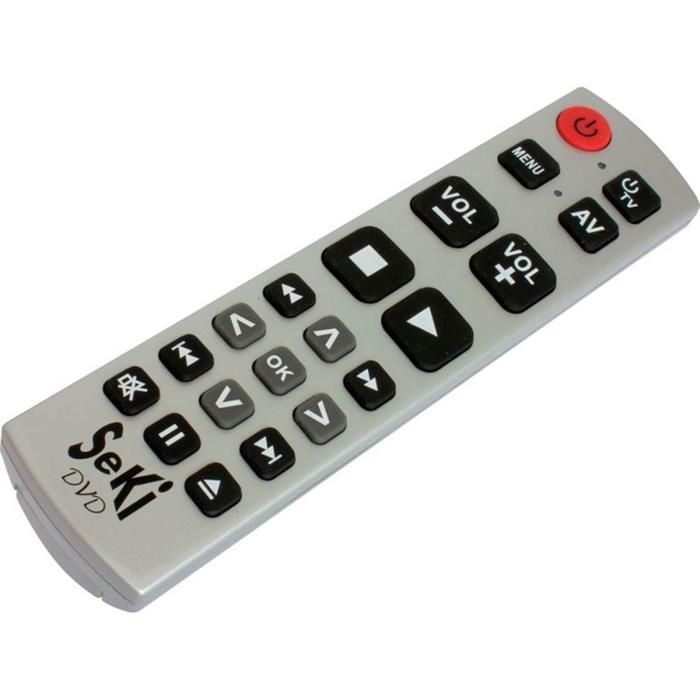 Universal Fernbedienung SeKi DVD Silber Lernfähig für Senioren + Kinder