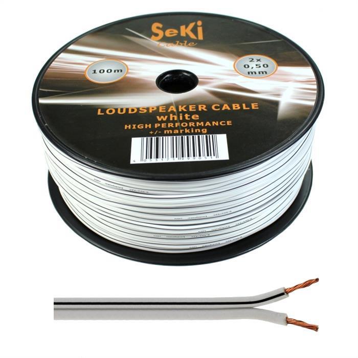 Lautsprecherkabel 100m - 2x0,5mm² - 100% CCA Kupfer ; Audiokabel - weiß