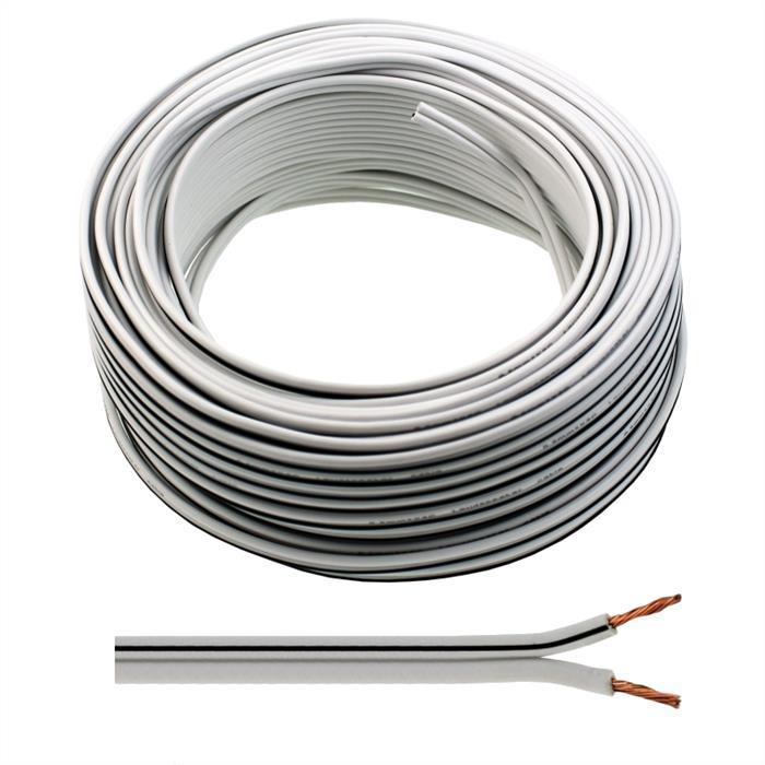 Lautsprecherkabel 25m - 2x0,75mm² - 100% CCA Kupfer ; Audiokabel - weiß