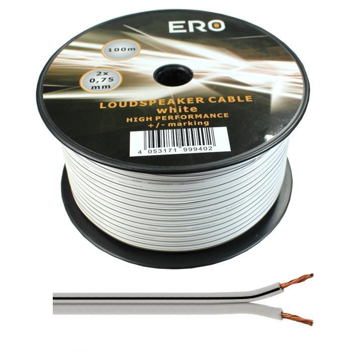 Lautsprecherkabel 100m - 2x0,75mm² - 100% CCA Kupfer ; Audiokabel - weiß