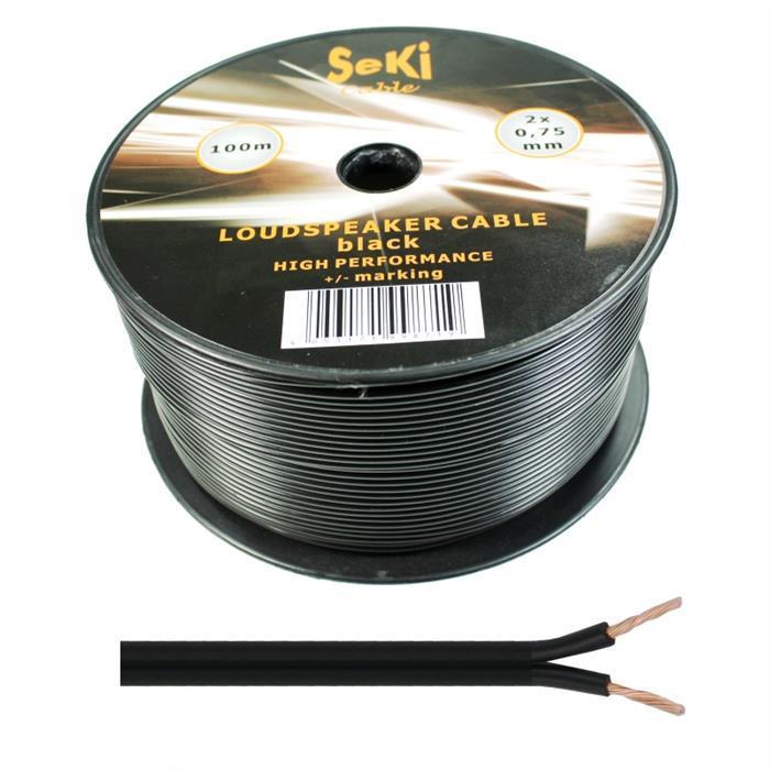 Lautsprecherkabel 100m - 2x0,75mm² - 100% CCA Kupfer ; Audiokabel - schwarz