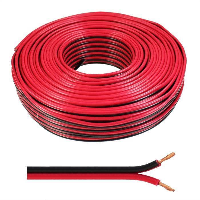 Lautsprecherkabel 30m - 2x1,5mm² - 100% CCA Kupfer ; Audiokabel - rot/schwarz