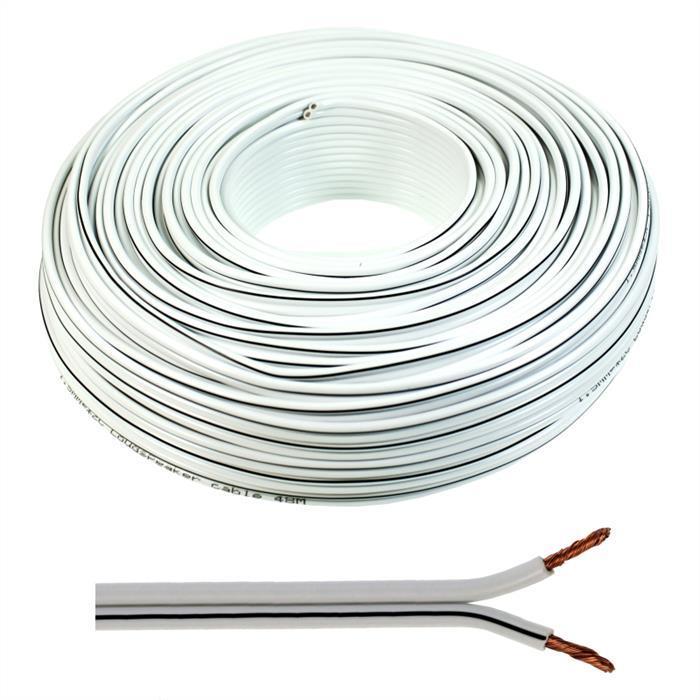 Lautsprecherkabel 50m - 2x1,5mm² - 100% CCA Kupfer ; Audiokabel - weiß