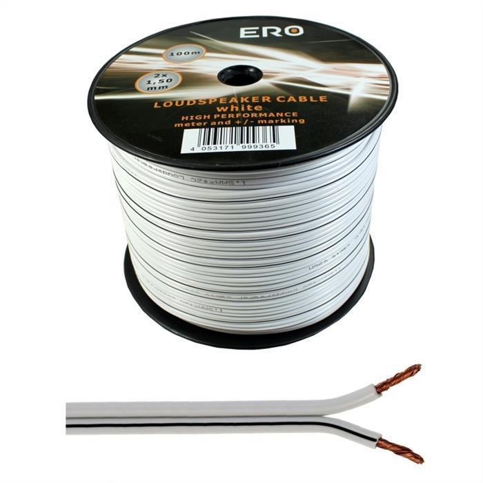 Lautsprecherkabel 100m - 2x1,5mm² - 100% CCA Kupfer ; Audiokabel - weiß