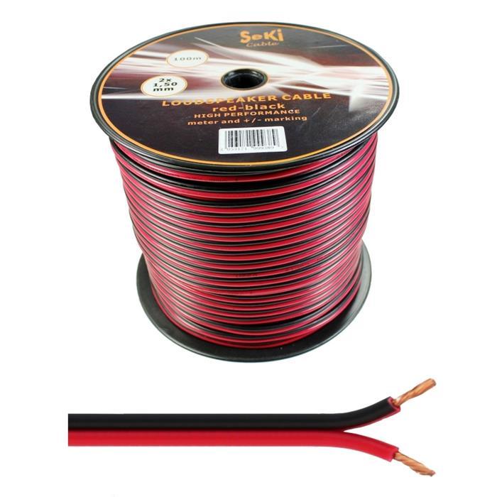 100m Lautsprecherkabel 2x 1,5mm² Rot Schwarz Audiokabel Boxenkabel