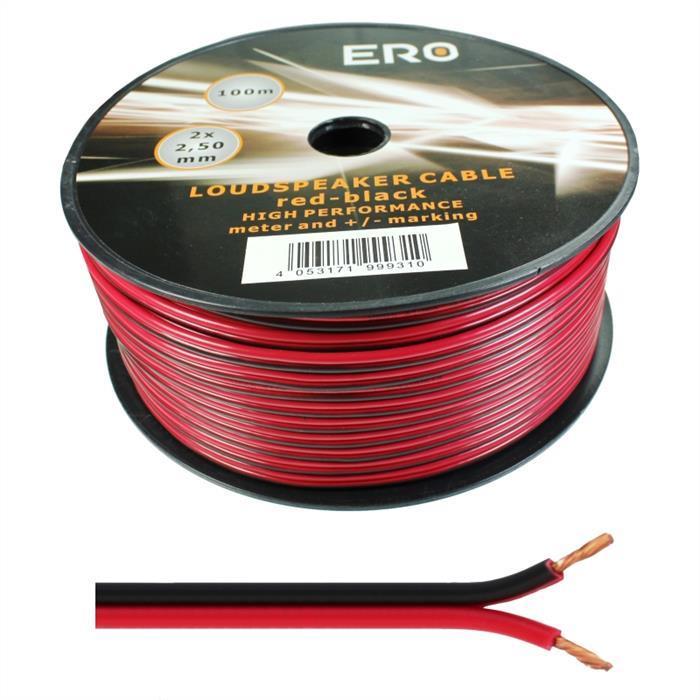 Lautsprecherkabel 100m - 2x2,5mm² - 100% CCA Kupfer ; Audiokabel - rot/schwarz