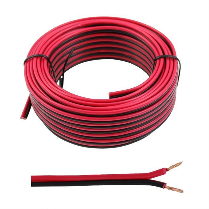 Lautsprecherkabel 10m - 2x0,5mm² - 100% CCA Kupfer ; Audiokabel - rot/schwarz