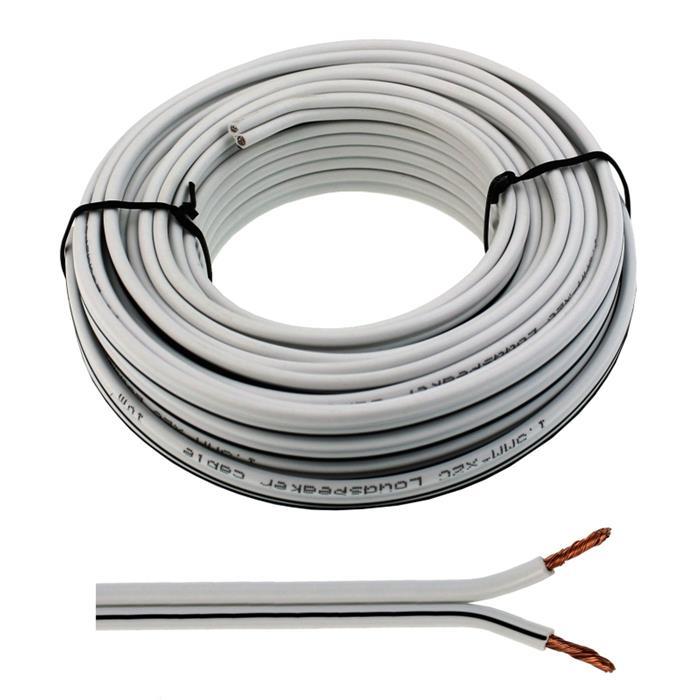 10m Lautsprecherkabel 2x 1,5mm² Weiß Audiokabel Boxenkabel