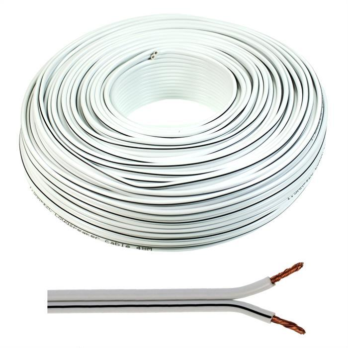 Lautsprecherkabel 25m - 2x1,5mm² - 100% CCA Kupfer ; Audiokabel - weiß