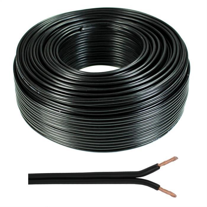 Lautsprecherkabel 25m - 2x1,5mm² - 100% CCA Kupfer ; Audiokabel - schwarz