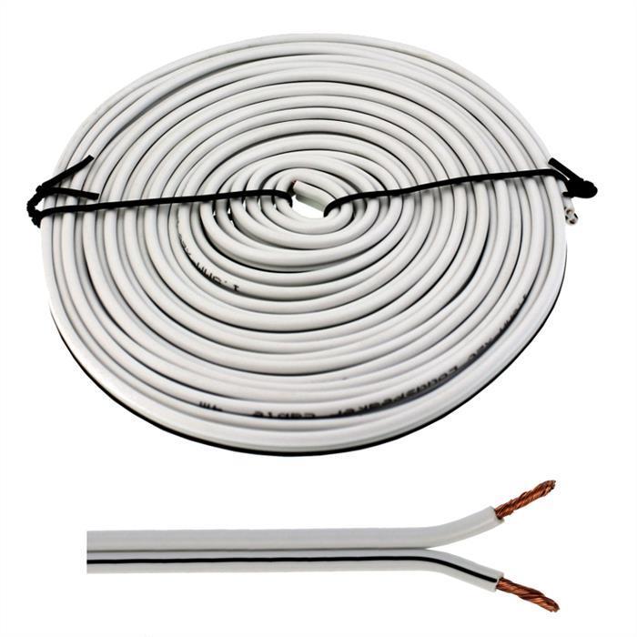 Lautsprecherkabel 5m - 2x2,5mm² - 100% CCA Kupfer ; Audiokabel - weiß