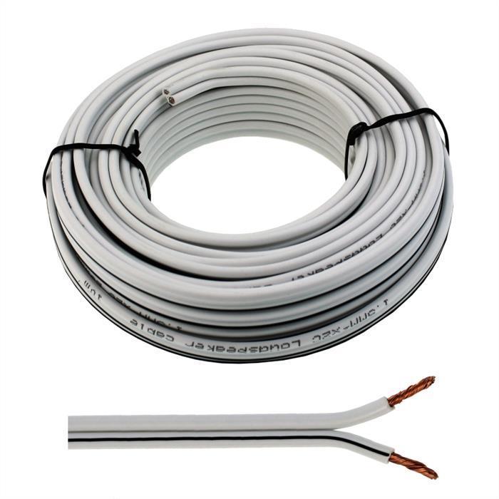 10m Lautsprecherkabel 2x 2,5mm² Weiß Audiokabel Boxenkabel