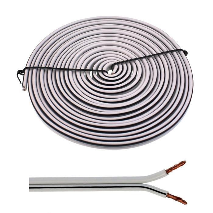 5m Lautsprecherkabel 2x 4mm² Weiß Audiokabel Boxenkabel