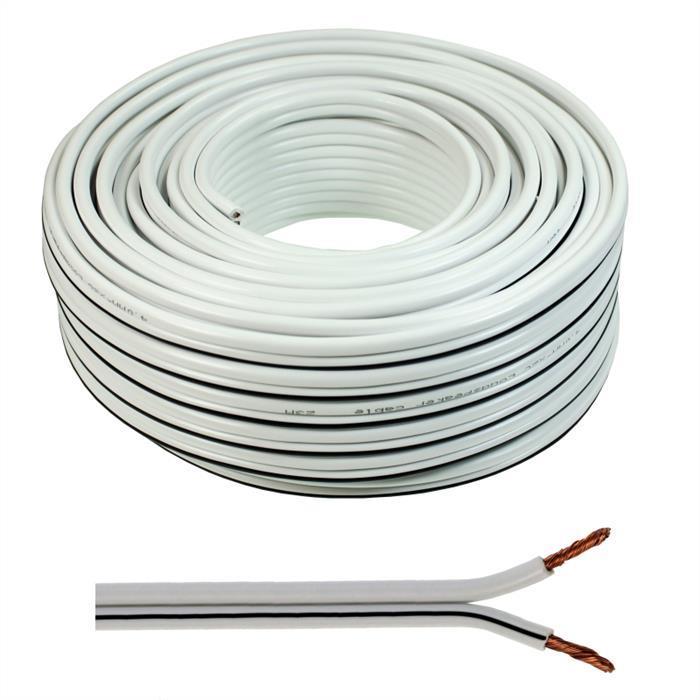 Lautsprecherkabel 25m - 2x4mm² - 100% CCA Kupfer ; Audiokabel - weiß