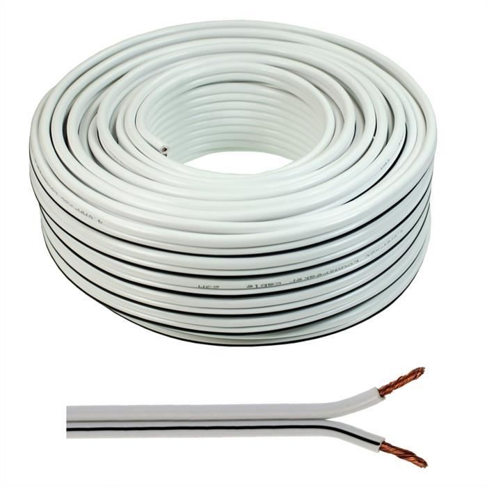 Lautsprecherkabel 50m - 2x4mm² - 100% CCA Kupfer ; Audiokabel - weiß